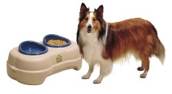 Elevated pet feeder made of durable plastic