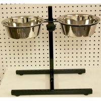 Adjustable pet feeder with stainless steel dishes